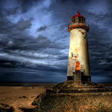 Картинки Великобритания Маяки Небо Вечер HDR Облака Talacre Lighthouse Природа