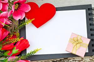 Обои День святого Валентина Анемоны Шаблон поздравительной открытки Сердце Подарки Цветы фото