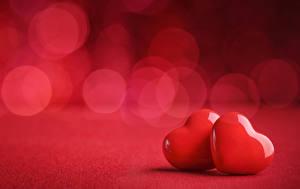 Обои День святого Валентина Сердце Двое Красный Еда картинки