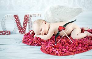 Обои День святого Валентина Младенцы Спит Сердце Купидон Дети картинки