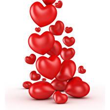 Обои День святого Валентина Много Белый фон Сердце