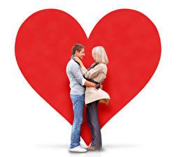 Обои День всех влюблённых Мужчины Любовь Белый фон 2 Блондинок Сердца Девушки