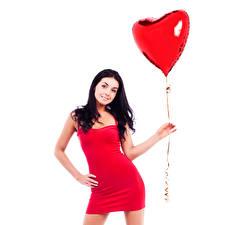 Обои День святого Валентина Белый фон Брюнетка Воздушный шарик Сердце Платье Руки Девушки картинки