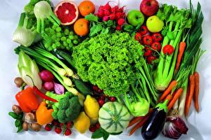 Обои Овощи Фрукты Перец Морковь Лимоны Яблоки Пища