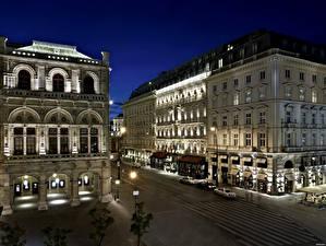 Фотографии Вена Австрия Здания Дороги Гостиница Улица Ночь Уличные фонари Hotel Sacher