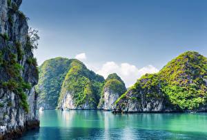 Обои Вьетнам Море Скала Бухта Halong Bay Природа фото