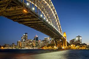 Обои Австралия Дома Мосты Сидней Ночь Уличные фонари Залив Города фото