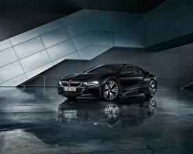 Картинки BMW Черный Отражение 2017 i8 Frozen Black Edition Автомобили