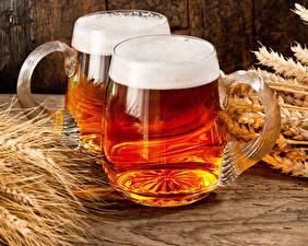 Обои Пиво Кружка Двое Пена Колос Еда фото