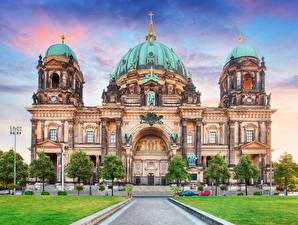 Картинки Берлин Германия Храмы Собор HDR Города