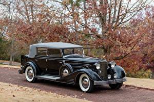 Картинки Кадиллак Ретро Черная Металлик 1933 V16 452-C Convertible Phaeton by Fleetwood автомобиль