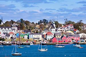 Фотография Канада Здания Пристань Парусные Яхта Lunenburg harbor Nova Scotia Города