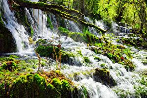 Фотографии Китай Цзючжайгоу парк Парки Водопады Мох