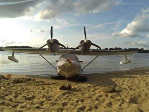 Обои Побережье Самолеты Песок Гидросамолёт Авиация фото