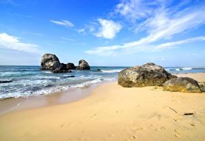 Фото Берег Камни Волны Небо Песок Скала Пляж