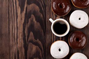 Обои Кофе Пончики Шоколад Доски Чашка Еда фото