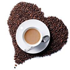 Обои Кофе Сердце Зерна Чашка Блюдце Ложка Еда фото