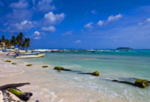 Обои Колумбия Побережье Лодки Небо Природа фото