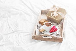 Обои Печенье Кофе Чашка Подарки Сердце Еда фото