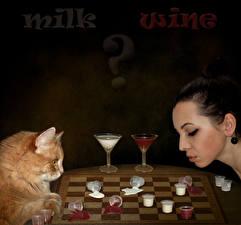 Картинка Оригинальные Коты Шахматы Молоко Вино Бокалы Девушки Животные
