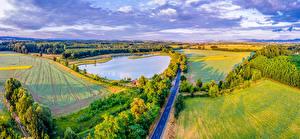 Фото Чехия Пейзаж Поля Пруд Дороги Moravsky Pisek Природа