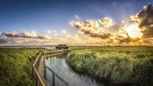 Обои Дания Пейзаж Рассветы и закаты Реки Небо Мосты Облака Трава Природа фото