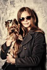 Картинки Собаки Шатенка Очков Йоркширский терьер молодая женщина