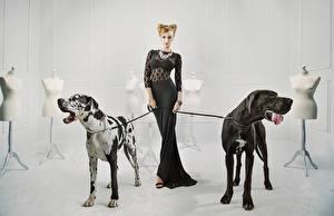 Обои Собаки Немецкий дог Платья молодые женщины Животные