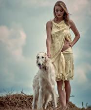 Собаки Борзые Русые Russian hunting sighthound Девушки