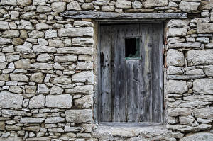 Обои Дверь Из дерева Каменные Стенка