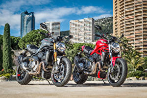 Картинки Дукати Двое 2017 Monster 1200 S Мотоциклы