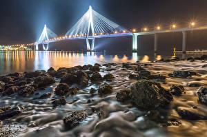 Картинки Англия Берег Мосты Камни Ночные Уличные фонари Iron Bridge