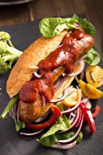 Фотография Быстрое питание Хот-дог Сосиска Овощи Кетчупом