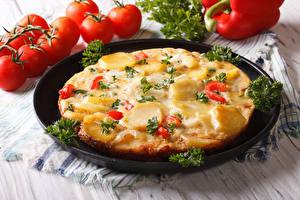 Картинка Фастфуд Пицца Помидоры Продукты питания