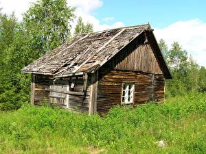 Фото Финляндия Здания Траве Из дерева Старая