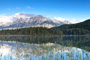 Обои Германия Озеро Леса Горы Пейзаж Lautersee lake Природа фото