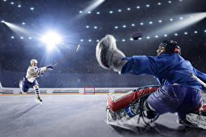 Обои Хоккей Мужчины Две Лучи света Униформа Каток Спорт