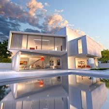 Фото Дома Особняк Дизайн Бассейны Облака Города 3D_Графика