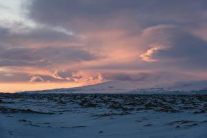 Фото Исландия Небо Зима Облака Снег Природа