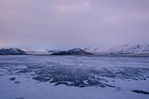 Обои Исландия Зима Горы Снег Природа фото
