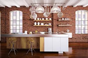 Картинки Интерьер Дизайн Кухня Стол Потолок