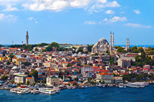 Обои Стамбул Турция Дома Причалы Катера