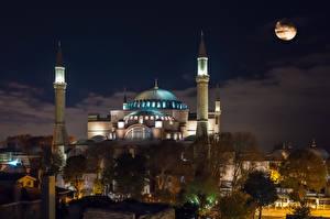 Фотография Стамбул Турция Храмы Мечеть Ночь Луна