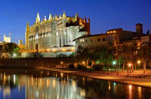 Фотографии Мальорка Майорка Испания Дома Дворца Ночь Пальма Уличные фонари Водный канал Palma de Mallorca Города