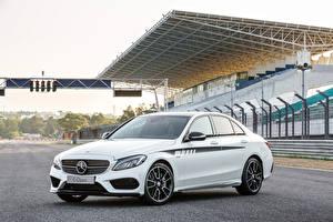 Фотографии Mercedes-Benz Белый C 450 2015 AMG Sport Машины