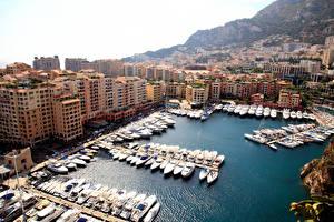 Картинки Монако Дома Пристань Яхта Парусные Бухта Города