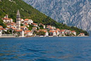 Обои Черногория Побережье Дома Море Perast Kotor bay Города фото