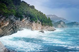 Обои Черногория Побережье Волны Леса Скала Природа фото