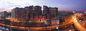 Картинки Москва Россия Дома Дороги Вечер Города