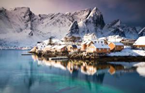 Картинки Горы Здания Побережье Лофотенские острова Норвегия Города